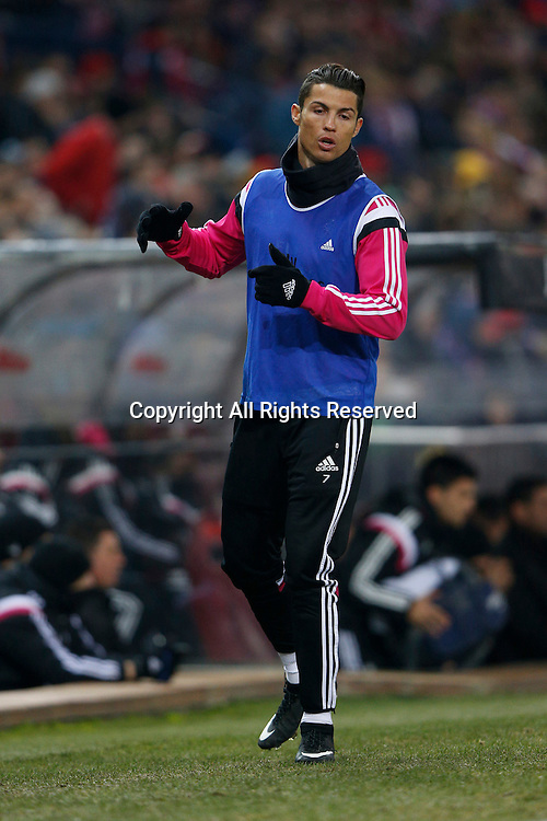 07.01.2015. Madrid, Spain. Copa del Rey Cup football. Atletico Madrid versus Real Madrid.  Cristiano Ronaldo dos Santos Forward of Real Madrid warms up as a substitute