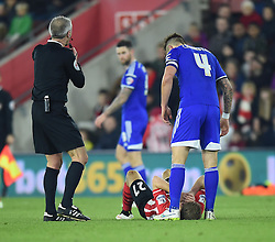 Southampton's Lloyd Isgrove goes down with a cut above his eye - Photo mandatory by-line: Paul Knight/JMP - Mobile: 07966 386802 - 04/01/2015 - SPORT - Football - Southampton - St Mary's Stadium - Southampton v Ipswich Town - FA Cup Third Round