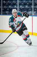KELOWNA, CANADA - SEPTEMBER 2: Defenseman Konrad Belcourt #5 of the Kelowna Rockets skates against the Victoria Royals on September 2, 2017 at Prospera Place in Kelowna, British Columbia, Canada.  (Photo by Marissa Baecker/Shoot the Breeze)  *** Local Caption ***