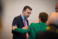 DEU, Deutschland, Germany, Berlin, 12.03.2019: CDU-Generalsekretär Paul Ziemiak und CDU-Chefin Annegret Kramp-Karrenbauer vor Beginn der Fraktionssitzung der CDU/CSU.