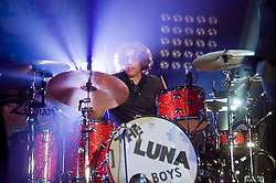 Ian Matthews Kasabian drummer on stage at the Sheffield Arena during the West Ryder Pauper Lunatic Asylum 23 November 2009