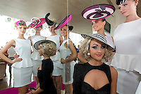 11/07/2012. . Catwalk models Linda Moran,  Kamile Jucyte, Simona Vasiliauskaite, Leonie McGuigan and seated Ismay McVey (wearing a philip Tracy hat aka Lady Gaga ) during the 2012 Galway Races Summer Festival, official launch  in the g Hotel, Galway. The seven day festival runs from Monday 30th July to Sunday 5th August. Photo:Andrew Downes. (first use repro free).