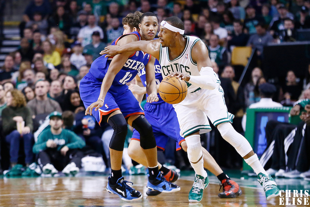 08 December 2012: Boston Celtics small forward Paul Pierce (34) drives past Philadelphia 76ers small forward Evan Turner (12) during the Boston Celtics 92-79 victory over the Philadelphia 76ers at the TD Garden, Boston, Massachusetts, USA.