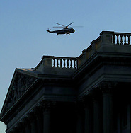 WA 9.4 MG IMAGE OF:.ashington, DC 9/11/01 The president's helicopter flys past the US Capitol on the way from Andrews Air Force Base to the White House.photo by Dennis Brack