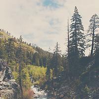 a river running through the Sierra Nevadas above Lake Tahoe, California