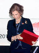 MADRID, SPAIN, 2015, NOVEMBER 24<br /> <br /> Queen Sofia has received the honorary award from the Insurance Solidarity Awards 2015 for their joint career, his involvement in humanitarian causes and focus on social and welfare activities. The Queen was accompanied by her daughter Princess Elena. Mother and daughter bet on an elegant black for this important occasion. While sovereign Sofia chose a set of jacket and skirt, which combined with a matching satin blouse with pockets, while his eldest chose a set of trousers and jacket with shirt, but also in nude color.<br /> ©Exclusivepix Media