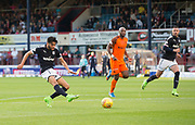 August 9th 2017, Dens Park, Dundee, Scotland; Scottish League Cup Second Round; Dundee versus Dundee United; Dundee's Faissal El Bakhtaoui misses a great chance early in the match