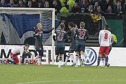 13.02.2014, Imtech Arena, Hamburg, GER, DFB Pokal, Hamburger SV vs FC Bayern Muenchen, Viertel Finale, im Bild Der FC Bayern bejubelt das 0:1 // during the German DFP Pokal Quaterfinal match between Hamburger SV and Fc Bayern Munich at the Imtech Arena in Hamburg, Germany on 2014/02/13. EXPA Pictures © 2014, PhotoCredit: EXPA/ Eibner-Pressefoto/ Latendorf<br /> <br /> *****ATTENTION - OUT of GER*****