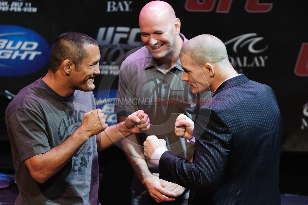 LAS VEGAS, NEVADA, JULY 9, 2009: Dan Henderson (left) and Michael Bisping face off during the pre-fight press conference for UFC 100 inside the House of Blues in Las Vegas, Nevada