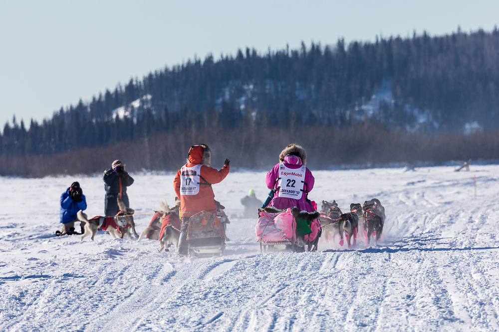 Musher DeeDee Jonrowe passing musher Kristin Bacon in the 45rd Iditarod Trail Sled Dog Race on the Chena River after leaving the restart in Fairbanks in Interior Alaska.  Afternoon. Winter.