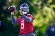 Marcus Mariota QB (8) practises quarter back drills during the Tennessee Titans pre-match press conference at Syon House, Brentford, United Kingdom on 19 October 2018.