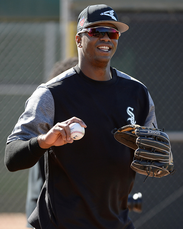GLENDALE, ARIZONA - FEBRUARY 20:  Eloy Jimenez #74 of the Chicago White Sox looks on during a spring training workout February 20, 2018 at Camelback Ranch in Glendale Arizona.  (Photo by Ron Vesely)  Subject:   Eloy Jimenez