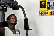 25/07/13 - CLERMONT FERRAND - PUY DE DOME - FRANCE - Centre de reinsertion sociale CHRS CE CLER ou l on pratique le sport comme vecteur d integration sociale - Photo Jerome CHABANNE pour Le Monde