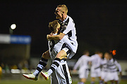 Forest Green Rovers Midfielder, Marcus Kelly (10) and Forest Green Rovers Forward, Christian Doidge (9) celebrate the 2nd goal 0-2 during the Vanarama National League match between Sutton United and Forest Green Rovers at Gander Green Lane, Sutton, United Kingdom on 14 March 2017. Photo by Adam Rivers.