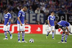 26.04.2011, Veltins Arena, Gelsenkirchen, GER, UEFA CL, Halbfinale Hinspiel, Schalke 04 (GER) vsManchester United (ENG), im Bild: von links:  Jose Manuel Jurado (Schalke #18),Edu (Schalke #9), Jose Manuel Jurado (Schalke #18) und Raul (Schalke #7) lassen die Koepfe haengen und sind entaeuscht / entäuscht   // during the UEFA CL, Semi Final first leg, Schalke 04 (GER) vs Manchester United (ENG), at the Veltins Arena, Gelsenkirchen, 26/04/2011 EXPA Pictures © 2011, PhotoCredit: EXPA/ nph/  Mueller *** Local Caption ***       ****** out of GER / SWE / CRO  / BEL ******