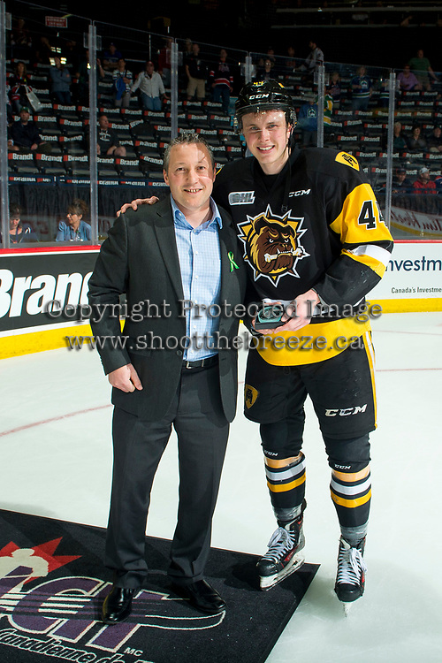REGINA, SK - MAY 21: MacKenzie Entwistle #44 of Hamilton Bulldogs accepts second star of the game at the Brandt Centre on May 21, 2018 in Regina, Canada. (Photo by Marissa Baecker/CHL Images)