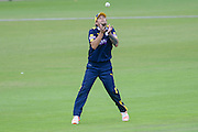 Gareth Berg of Hampshire takes a catch to dismiss Jim Allenby during the Royal London One Day Cup match between Hampshire County Cricket Club and Somerset County Cricket Club at the Ageas Bowl, Southampton, United Kingdom on 2 August 2016. Photo by David Vokes.