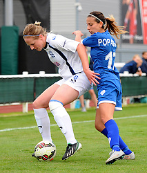 Evdokia Popadinova of Bristol Academy Women battles with Kerys Harrop of Birmingham City Ladies - Mandatory by-line: Paul Knight/JMP - Mobile: 07966 386802 - 29/08/2015 -  FOOTBALL - Stoke Gifford Stadium - Bristol, England -  Bristol Academy Women v Birmingham City Ladies FC - FA WSL Continental Tyres Cup