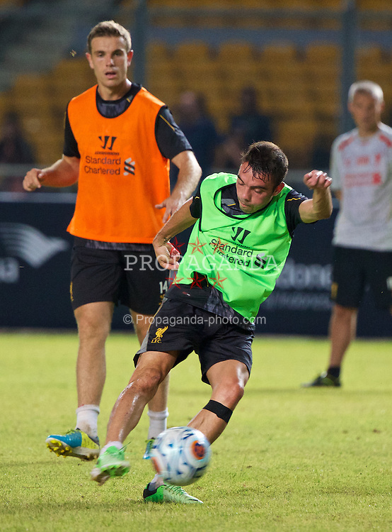 JAKARTA, INDONESIA - Friday, July 19, 2013: Liverpool's Iago Aspas during a training session ahead of their preseason match against an Indonesian XI at the Gelora Bung Karno Stadium. (Pic by David Rawcliffe/Propaganda)