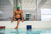 "2016/06/04 – Bogotá, Colombia: Moises Fuentes Garcia, 41, sits on the border of the swimming pool, before the beginning of his training session at the Simon Bolivar Aquatic Complex, Bogotá, 4th June, 2016.<br />  -<br /> Moises used to be a farmer and sell cattle with his brother when in October 1992, Paramilitaries in the region of Santa Marta targeted them. Moises was shot six times, and his brother killed. He was ""lucky"" to survive, one of the bullets crossed his neck, and one stuck into his spine and he couldn't walk again. However it did not end there, a few months later, during a rehabilitation session he broke his leg and due to an infection he had to amputate it. Moises felt it wasn't worth living anymore. But after meeting a group of other victims that had even more severe injures, he grabbed life with will and began to feel motivated. He started playing wheelchair basketball and studying. In the process of the rehabilitation he was spotted as a good swimmer, even if he didn't possess any technique. After some success on the swimming pool, he became completely dedicated to the sport, while finishing degrees as a tailor, public accountant and hopes to graduate as a sport teacher next year. <br /> Among many achievements he won the Bronze medal in 2008 Paralympic Games in Beijing and Silver medal on the 2012 Paralympic Games in London on the 100 meters breaststroke category. He also became the World Champion at the 2013 World Swimming Championships. Moises hopes that in the Rio 2016 Paralympics, he will bring gold home. <br /> He believes that people must value their life, what they have and help people on the way. ""Everyone is a champion, but some people don't do the necessary to really became one"" he says. (Eduardo Leal)"