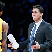 05 December 2016: Los Angeles Lakers head coach Luke Walton talks to Los Angeles Lakers forward Brandon Ingram (14) during the Utah Jazz 107-101 victory over the Los Angeles Lakers, at the Staples Center, Los Angeles, California, USA.