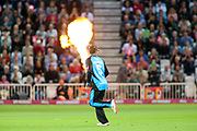Callum Ferguson of Worcestershire Rapids runs into the flames during the Vitality T20 Blast North Group match between Nottinghamshire County Cricket Club and Worcestershire County Cricket Club at Trent Bridge, West Bridgford, United Kingdon on 18 July 2019.