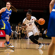 24 February 2018: The San Diego State women's basketball team closes out it's home schedule of the regular season Saturday afternoon against San Jose State. San Diego State Aztecs guard McKynzie Fort (15) drives the ball past San Jose State Spartans guard Fa-Ko-Fieme'a Hafoka (4) in the second half. The Aztecs beat the Spartans 85-78 at Viejas Arena.<br /> More game action at sdsuaztecphotos.com