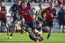 December 9, 2018 - Limerick, Ireland - Andrew Conway of Munster tackled Taylor Paris of Castres during the Heineken Champions Cup Round 3 match between Munster Rugby and Castres Qlympique at Thomond Park Stadium in Limerick, Ireland on December 9, 2018  (Credit Image: © Andrew Surma/NurPhoto via ZUMA Press)