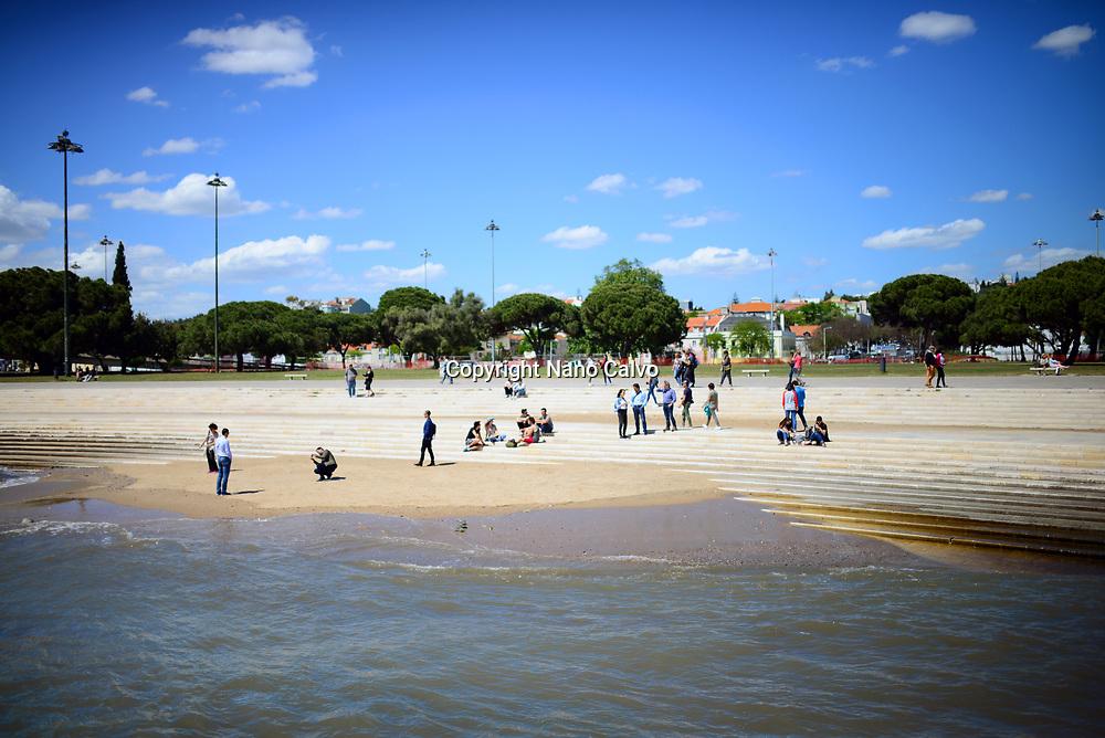 Small beach below Belem or St Vincent tower, Lisbon