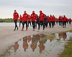 VIENNA, AUSTRIA - Thursday, October 6, 2016: Wales' goalkeeper Wayne Hennessey, Gareth Bale, Joe Ledley and Andy King during a pre-match walk at the Hilton Danube Waterfront Hotel ahead of the 2018 FIFA World Cup Qualifying Group D match against Austria. (Pic by David Rawcliffe/Propaganda)