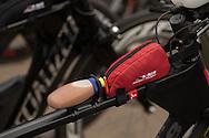 Refreshments And Parts On Bike, March 22, 2014 - Ironman Triathlon : Ironman Melbourne Pre-Race, Frankston Transition, Melbourne, Victoria, Australia. Credit: Lucas Wroe