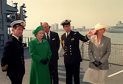 File photo dated 15/04/91 of Queen Elizabeth II and the Duke of Edinburgh with the Duke and Duchess of York on board HMS Campbeltown at Portsmouth Harbour. The Royal couple will celebrate their platinum wedding anniversary on November 20.