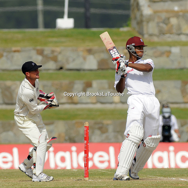 Kieran Powell batting for West Indies - Day 5 of the first test West Indies v New Zealand at Sir Vivian Richards Stadium, Antigua, West Indies.<br /> 29 July 2012. Photo;Randy Brooks/Photosport.co.nz