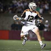 Justin Turri #12 of the Rochester Rattlers controls the ball during the game at Harvard Stadium on August 9, 2014 in Boston, Massachusetts. (Photo by Elan Kawesch)