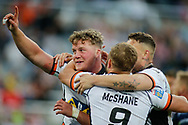 Adam Milner of Castleford Tigers celebrates scoring his try with his team mates  against Leeds Rhinos during the Betfred Super League match at the Dacia Magic Weekend, St. James's Park, Newcastle<br /> Picture by Stephen Gaunt/Focus Images Ltd +447904 833202<br /> 19/05/2018