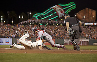 Baseball: NLCS Playoffs: San Francisco Giants Juan Perez (2) in action, slide into home plate safe vs St. Louis Cardinals at AT&amp;T Park. Game 4.<br /> San Francisco, CA 10/15/2014<br /> CREDIT: Jed Jacobsohn (Photo by Jed Jacobsohn /Sports Illustrated/Getty Images)<br /> (Set Number: X158826 TK2 )