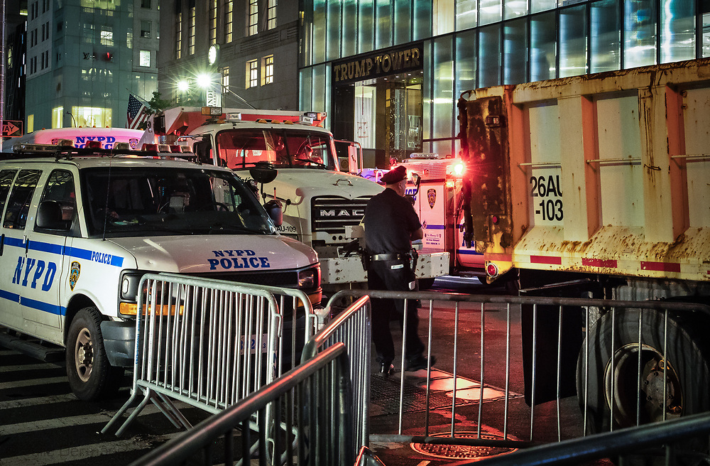 Security in front of Trump Tower when President Trump came to New York to visit the United Nations summit.