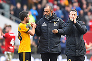 Wolverhampton Wanderers manager Nuno Espirito Santo celebrates the 1-0 win over Bristol City at full time with Joao Moutinho (28) of Wolverhampton Wanderers during the The FA Cup 5th round match between Bristol City and Wolverhampton Wanderers at Ashton Gate, Bristol, England on 17 February 2019.
