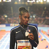 USA's Christina Manning wins silver at the IAAF World Indoor Championships, March 4, 2018