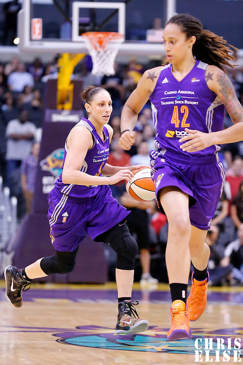 18 May 2014: Phoenix Mercury guard Diana Taurasi (3) brings the ball up court during the Phoenix Mercury 74-69 victory over the Los Angeles Sparks, at the Staples Center, Los Angeles, California, USA.