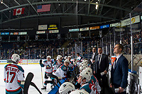 KELOWNA, CANADA - JANUARY 25:  Kelowna Rockets' assistant coach, Kris Mallette, head coach Adam Foote and assistant coach Adam Brown stand on the bench against the Victoria Royalson January 25, 2019 at Prospera Place in Kelowna, British Columbia, Canada.  (Photo by Marissa Baecker/Shoot the Breeze)
