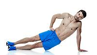 one caucasian man  exercising fitness  planks exercises isolated on white background