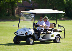 LIVERPOOL, ENGLAND - Saturday, June 21, 2014: A golf buggy ferries spectators from the corporate area during Day Three of the Liverpool Hope University International Tennis Tournament at Liverpool Cricket Club. (Pic by David Rawcliffe/Propaganda)