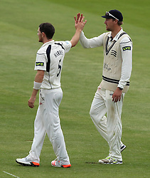 Middlesex's James Harris celebrates the wicket of Durham's Usman Arshad with Middlesex's Ollie Rayner - Photo mandatory by-line: Robbie Stephenson/JMP - Mobile: 07966 386802 - 04/05/2015 - SPORT - Football - London - Lords  - Middlesex CCC v Durham CCC - County Championship Division One