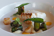 Kåseberga. Vendel Ales Stenar restaurant. Cod in Smoke, , Skillinge Scallop, Seaweed, Asparagus, Asparagus Milk and Sea-Buckthorn. In the films starring Kenneth Branagh this room on the top floor is used as Wallander's office.