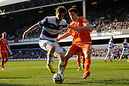 Queens Park Rangers Will Keane competing with Blackpool's Craig Cathcart . Skybet football league championship match , Queens Park Rangers v Blackpool at Loftus Road in London  on Saturday 29th March 2014.<br /> pic by John Fletcher, Andrew Orchard sports photography.