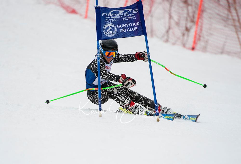 Piche Invitational giant slalom at Gunstock.  U14 men 2nd run.  ©2014 Karen Bobotas Photographer