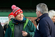 A Plymouth Argyle fan outside Home Park Stadium wearing a Christmas bobble hat before the EFL Sky Bet League 1 match between Plymouth Argyle and Accrington Stanley at Home Park, Plymouth, England on 22 December 2018.