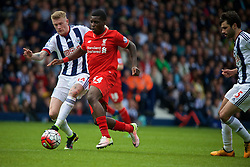 WEST BROMWICH, ENGLAND - Sunday, May 15, 2016: Liverpool's Sheyi Ojo in action against West Bromwich Albion's James McClean during the final Premier League match of the season at the Hawthorns. (Pic by David Rawcliffe/Propaganda)