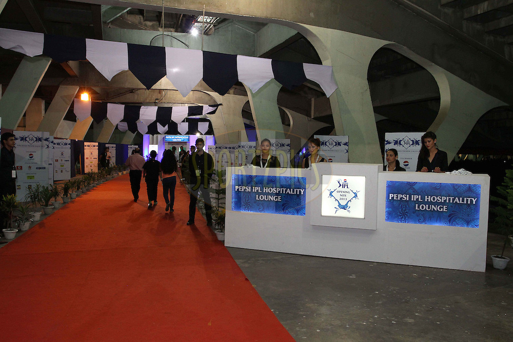 General View of the hospitality entrance during the Pepsi Indian Premier League opening ceremony held at the Salt Lake Stadium in Kolkata on the 2nd April 2013..Photo by Shaun Roy/IPL/SPORTZPICS..Use of this image is subject to the terms and conditions as outlined by the BCCI. These terms can be found by following this link:..http://www.sportzpics.co.za/image/I0000SoRagM2cIEc